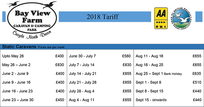 static caravan tariff and availability status